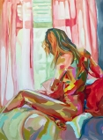 """""""Girl with Pink Curtains"""" 36x48"""" Oil on Canvas"""